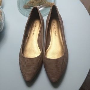 Christian Siriano Textured Brown Flats Size 7